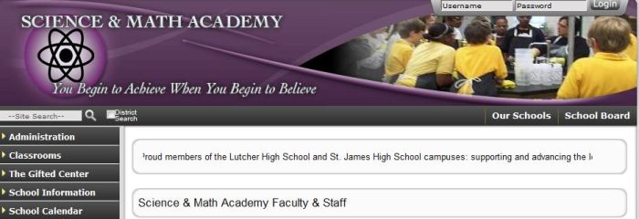 St James parish is proudly displaying that the Science and Math Academy is part of both Lutcher and St James High Schools