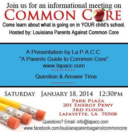 Common Core Meeting Today 1/18/2014 inLafayette