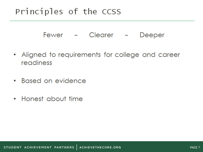 Principles of CCSS